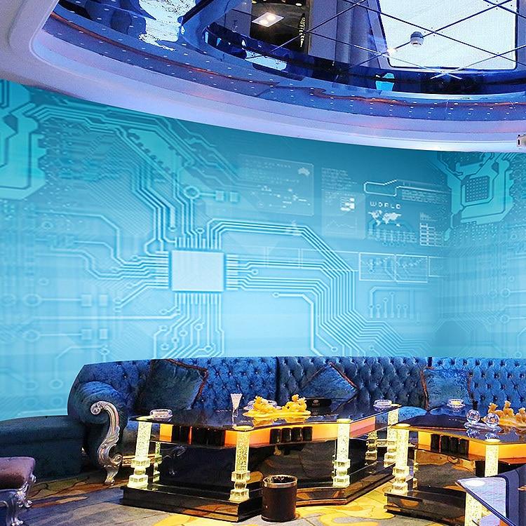 Free Shipping Metallic Blue Circuit Board Large Murals Ktv