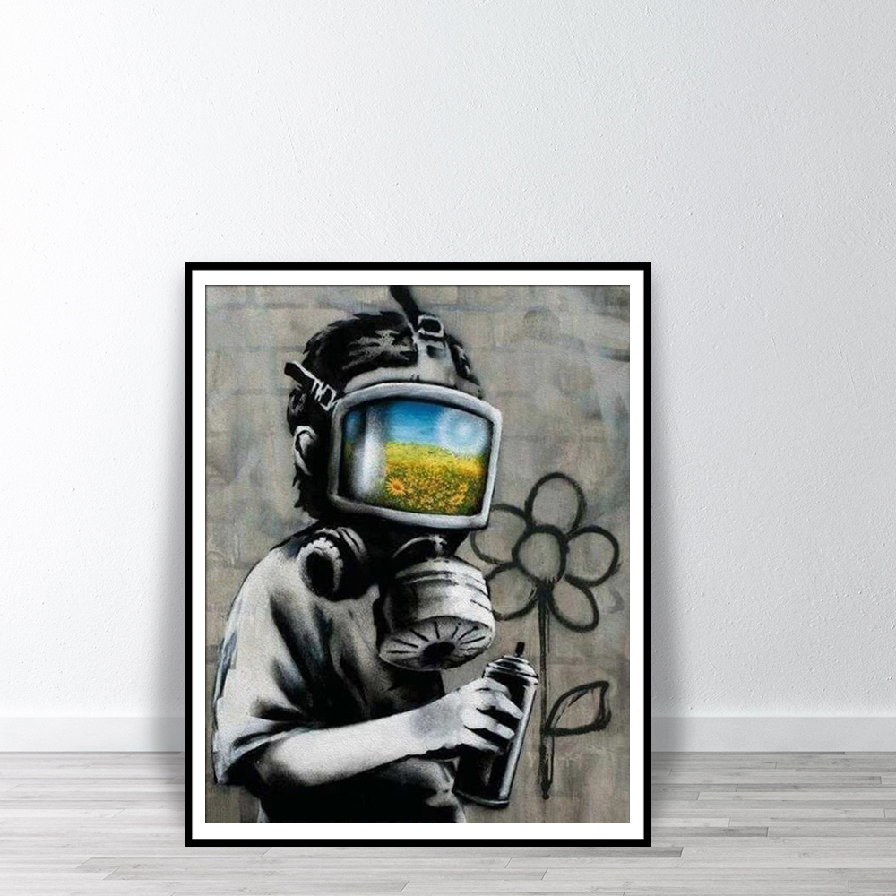 BANKSY Canvas Sunflower Field Mask Wall Art Print Street Graffiti Printable Painting Home Decor Posters
