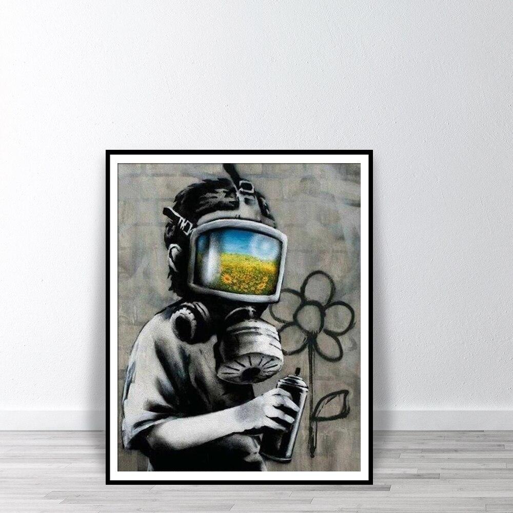 BANKSY Canvas Sunflower Field Mask Wall Art Print Street Graffiti Printable Painting Home Decor Posters