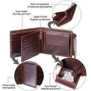 Image 2 - GENODERN Genuine Leather Men Wallets Vintage Hasp Design Women Money Bag Zipper Pocket Card Holder Male Portomonee Coin Purse