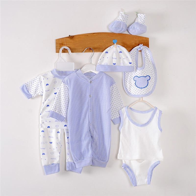 8pcs/set Newborn Baby Boy Girl Clothing Set Rompers +Hats+ Vest+ Pants+ Shorts +Bibs +Shoes Suit 100% Cotton Cute Underwear 0-6M