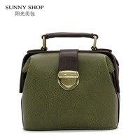 SUNNY SHOP Vintage Doctor Mini Women Bag Green Shoulder Bags Student School Handbag
