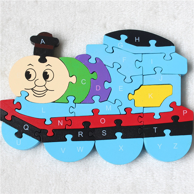2016 New Cartoon Train Puzzles Wooden Puzzles Toys 26 English Letter Digital Colorful Children Toys