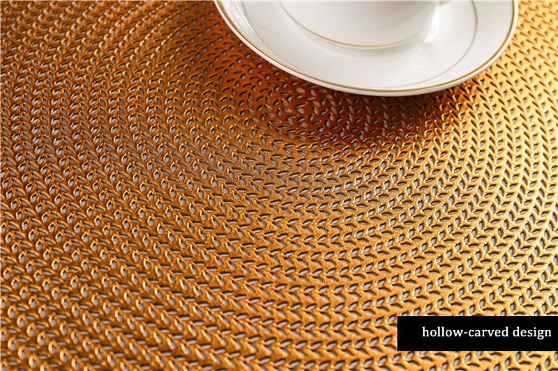 38CM Hotel Restaurant Round PVC Placemat Nordic Anti-scalding Insulation Table Mat Steak Pad (13)