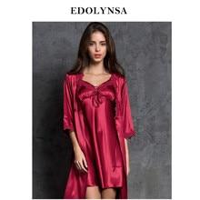 2abea88f1 Robe Vestido Conjunto de Duas peças 2 Romântico Mulheres Sleepwear Conjunto  De Lingerie de Cetim Rendas