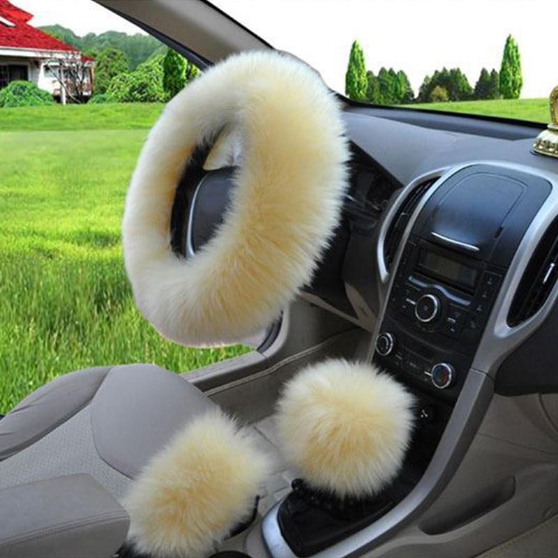3 шт./компл. плюшевый мягкий теплый автомобильный комплект для рулевого колеса - Название цвета: beige