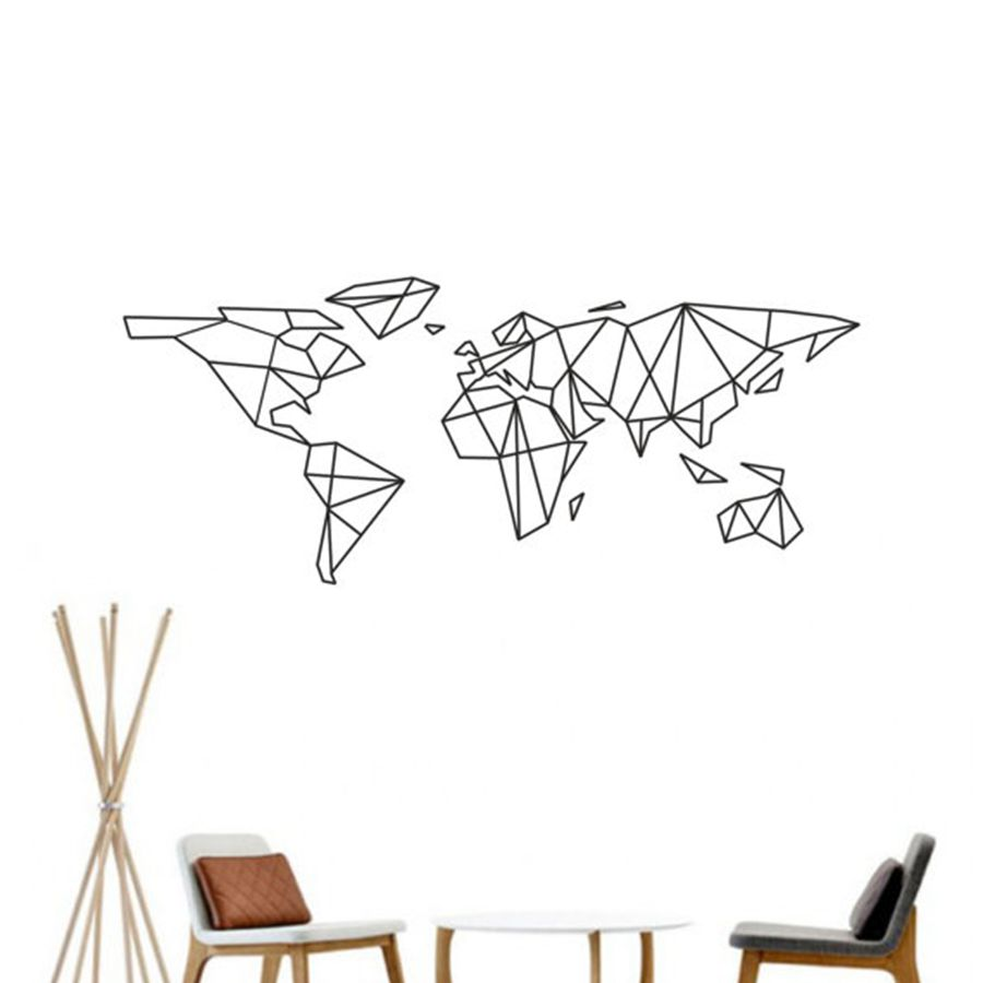 Map Of The World Vinyl Wall Decal Home Decor Geometric