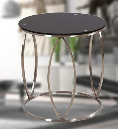 Free shipping Stainless steel small Angle a few sitting room. Black tempered glass sofa tea table.