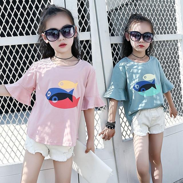 6f20db81c9a Magazine Style Summer Kids Girls Cartoon Fish Casual Cute Half Sleeve Lotus Cuffs  T-shirt Tee Kids Girls White Blue Pink Tops