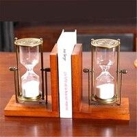 Пара Творческий Вуд форзац полка с песочные часы форзац держатель для офиса украшения дома Книга Стенд