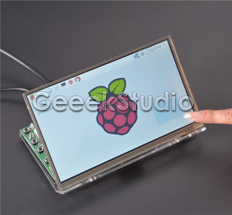 Prix pour Raspberry Pi 7 pouce Écran lcd 1024*600 TFT Écran Tactile moniteur avec le Conseil D'entraînement HDMI VGA 2AV & Transparent Acrylique support