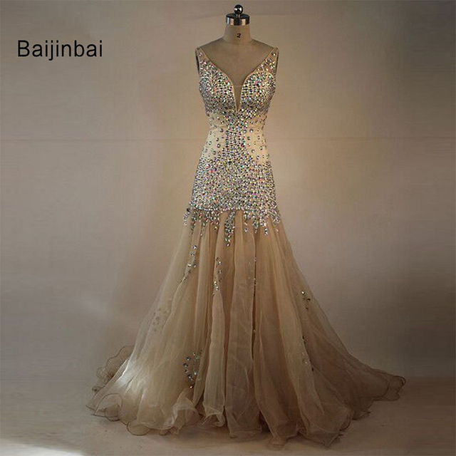 Baijinbai Sexy Organza Beaded Crystal V Neck Mermaid Champagne ...