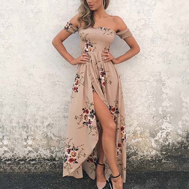 Lily Rosie Girl Off Shoulder Boho Style Women Dress Summer Beach Sexy Party Maxi Long Dress White Floral Elegant Dresses Vestido