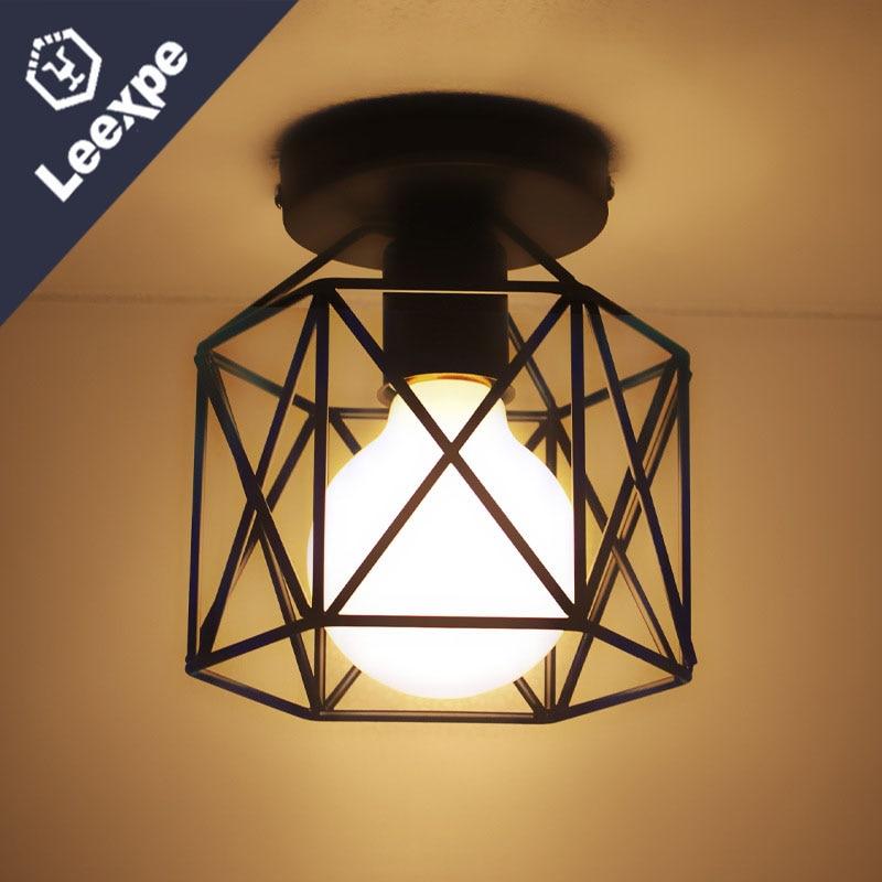 Deckenleuchten Kostenloser Versand Vintage Eisen Matte Malerei Decke Lampe Foyer Esszimmer Bar Loft Decke Licht 110-240 V Hause Beleuchtung