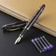 Jinhao x450 caneta fonte, 0.5mm, preta, de metal, com 5 peças de tinta, para presente, caixa, escritório