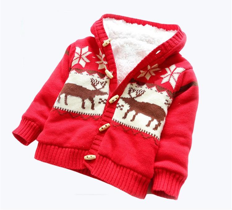 Baby Sweaters Christmas Reindeer Cardigan Jackets Children Fleece ...