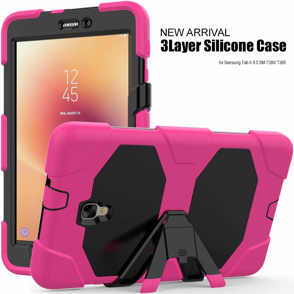 For Samsung Galaxy Tab A 8.0 2017 T380 T385 Case Kids Safe Armor Shockproof Heavy Duty SiliconPC Stand Cover For SM-T380 SM-T385
