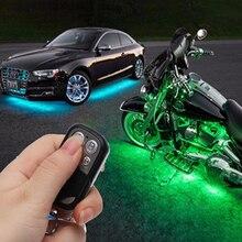 RGB светодиодный Беспроводной удаленного Управление автомобиль мотоцикл свет лампы атмосфера с Smart стоп акцент неоновый Стиль свет комплект