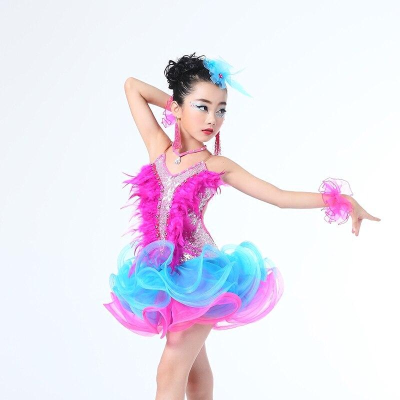 Girls Latin Dancing Dress Kids feather Ballroom Performance Dancewear Costumes