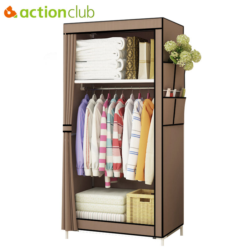 Actionclub Minimalist Modern Non-woven Cloth Wardrobe Baby Storage Cabinet Folding Steel Individual Closet Bedroom Furniture