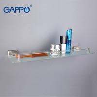 GAPPO Top Quality Wall Mounted Bathroom Shelves Bathroom Glass Shelf Restroom Shelf Hardware Accessories In Two