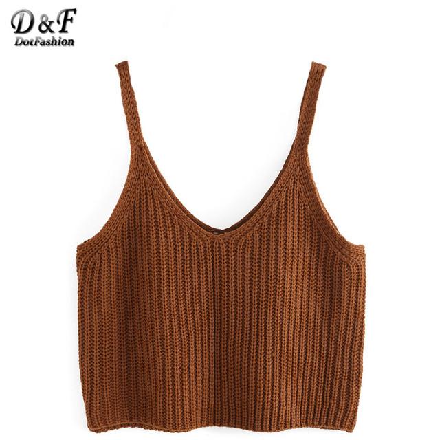 Dotfashion Knit V Neck cortar Cami Tops verão estilo 2016 New Arrival mulheres Sexy Vogue Spaghetti Strap Camisole