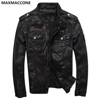 2018 Black Men Casual Leather Jacket Genuine High Quality Sheepskin Winter Slim Fit Russian Leather Coat
