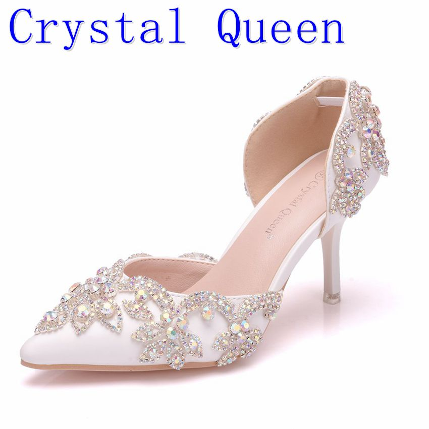 Crystal QueenFlowers Crystal Custom Ponited Head Diamond Decorate Shallow PU Elegant 7cm High Heel Sandals Bride