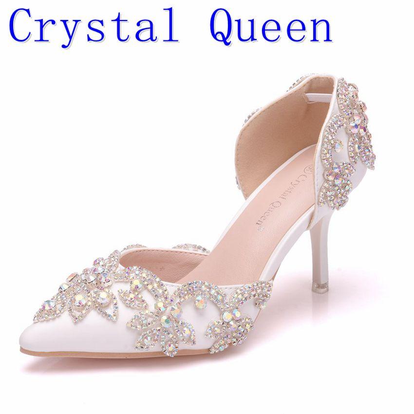 Crystal QueenFlowers Crystal Custom Ponited Head Diamond Decorate Shallow PU Elegant 7cm High Heel Sandals Bride