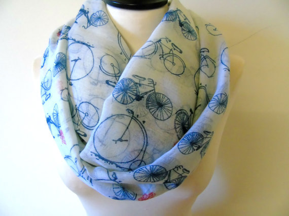 Bicycle Infinity Scarf White Silky Scarf For Woman Loop Scarf Accessory
