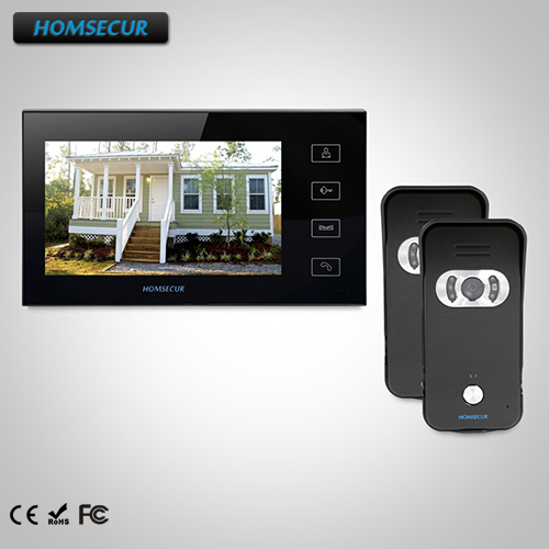 HOMSECUR 7 Hands-free Video Door Entry Security Intercom+LCD Color Screen TC021-B Camera + TM704-B Monitor homsecur 8 wired hands free video door entry security intercom lcd color screen tc011 w tm801r b