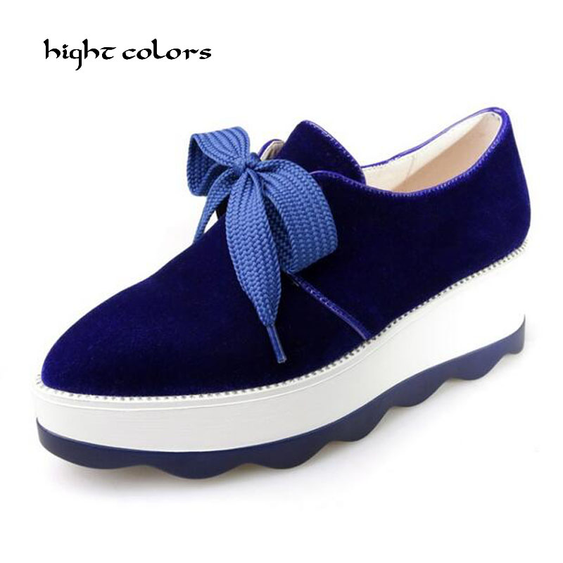 Big Size 42 Wedges High Heels Ladies Casual Shoes Pointed Toe Flock Lace-Up Fashion Spring/Autumn Pumps BLACK GREEN RED BLUE D16 new spring autumn women shoes pointed toe high quality brand fashion ol dress womens flats ladies shoes black blue pink gray