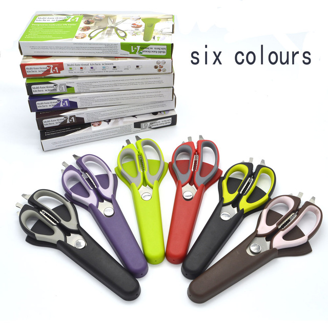 kitchen scissors knife for fish chicken household stainless steel multifunction cutter shears  free shipping with magnetic cover