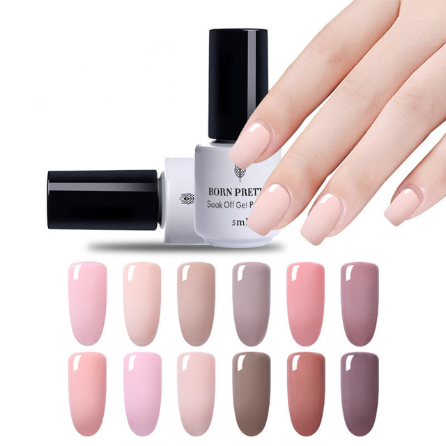 BORN PRETTY Nude Color Gel Polish UV Gel Nail Polish 5ml Grey Soak ...
