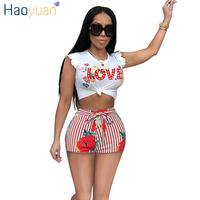 HAOYUAN Sexy Two Piece Set Women Love Print Casual Tracksuit Tops And Striped Shorts Matching Suit