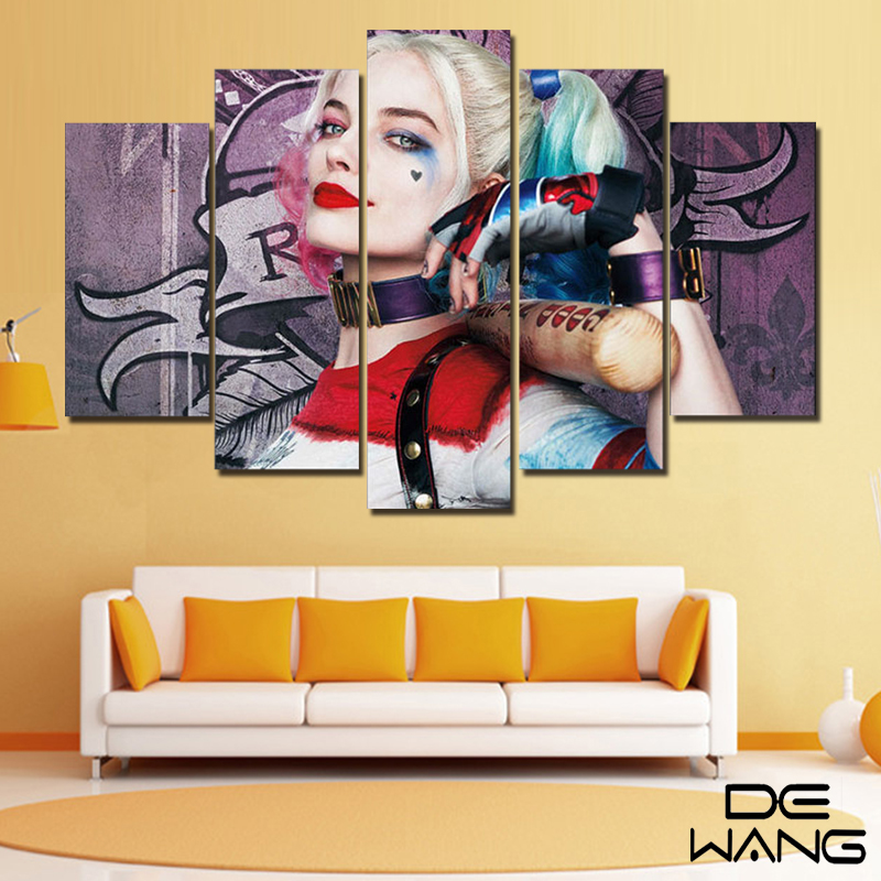 Wall Decor 5 Panel Painting Bedroom Batman Canvas Paintings Harley ...