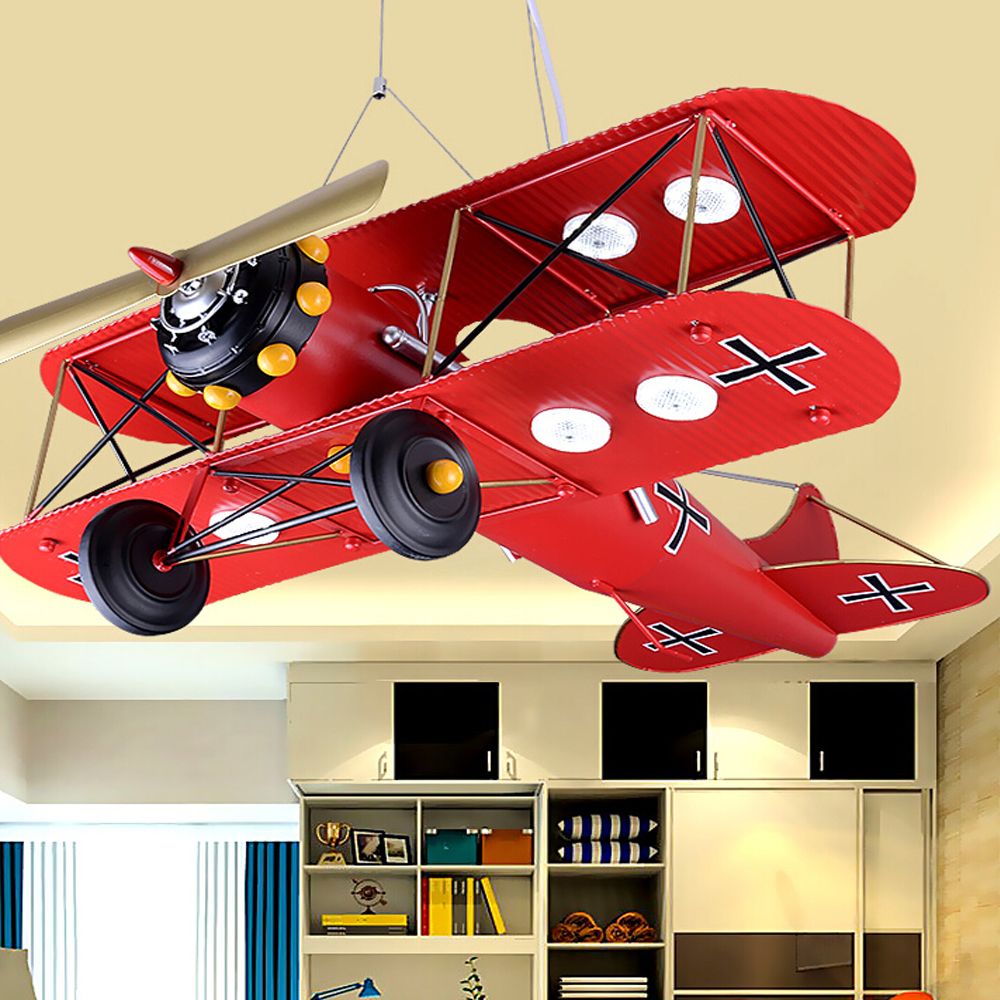Children 's Iron Airplane Room LED Pendant Lights Bedroom Creative Personality Cartoon pendant light Retro Hanging Lamps led cartoon children pendant lamps kids hanging room light creative children boy girl s pendant lights home decoration lighting