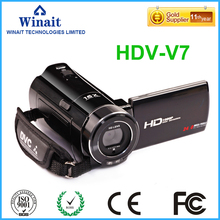 Freeshipping Professional Video Camera Digital Camcorder DVR HDV-V7 24MP 3.0″ 1080P HD Video Recorder DIS Face & Smile Detection