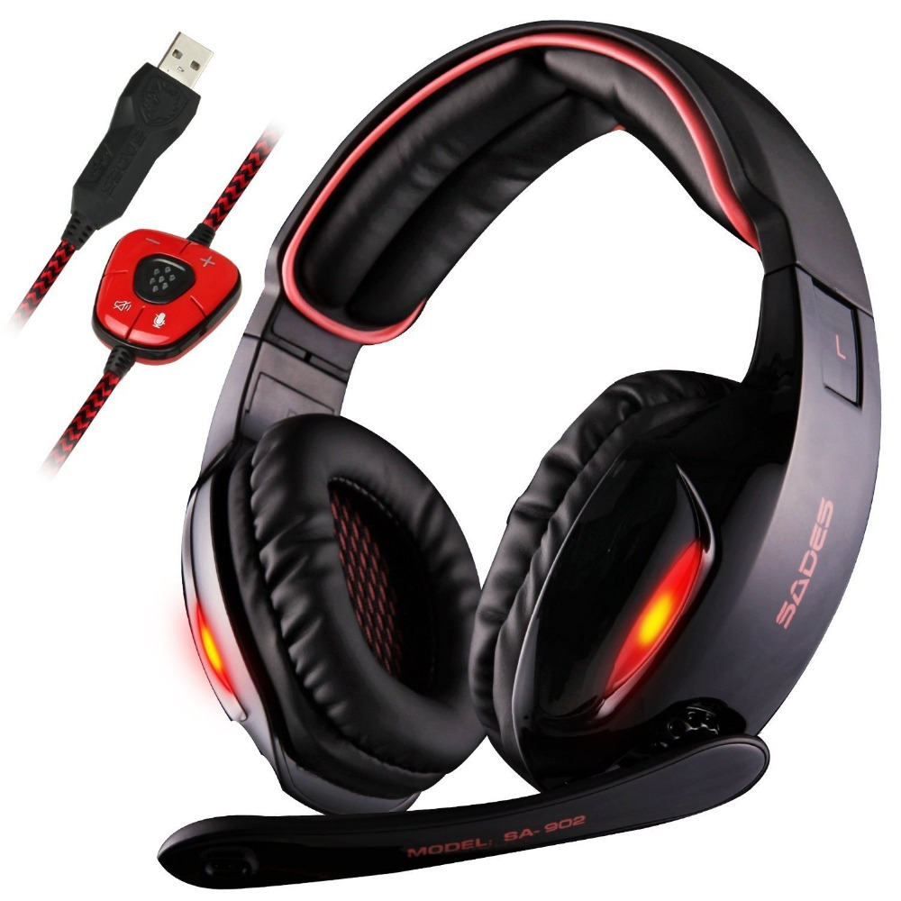 Original Sades SA-902 Professional Gaming Headphones USB 7.1 Surround Sound Effect Noise isolation Headset With Microphone