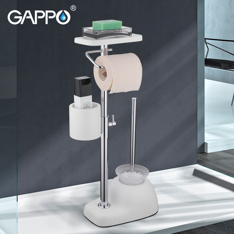 Acessórios do banheiro branco wc titulares Escova de Vaso Sanitário de pé livre GAPPO titulares escova de vaso sanitário do banheiro escovado