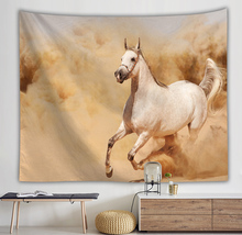 Decorative Wall Hanging curtain spread covers cloth blanket art tapestry Beach Towel girls dreess horses running decor