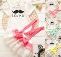 summer cartoon dress clothing set Girls baby babi t-shirt short sleeve two piece suit dress lace bow skirt Children Wear  S1615