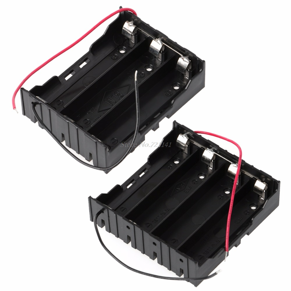 3.7V Parallel 3x 4x 18650 Batteries Holder Box Storage Case Container With Wire Electronics Stocks
