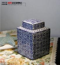 Цзиндэчжэнь фарфор керамическая чайница запечатанные банки с крышкой бутылки квадратного хранения закуски бак для хранения Домашнего Украшения