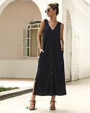 Long summer dress 2019 New Preppy Style women vintage Sleeveless office button boho beach clothes midi