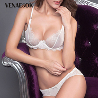 White Sexy Bra And Panty Sets Embroidery Lace Transparent Underwear Set For Women See Through Bra