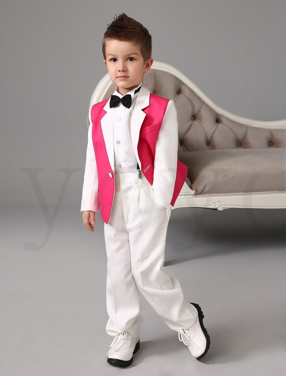 2015 White Pink Boys Tuxedos Wedding Attire Baby Boy Dress Clothes ...