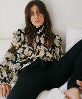 100% Silk Women Hydrangea Floral Print Long Sleeve High Neck Autumn Ruffle Blouse Top
