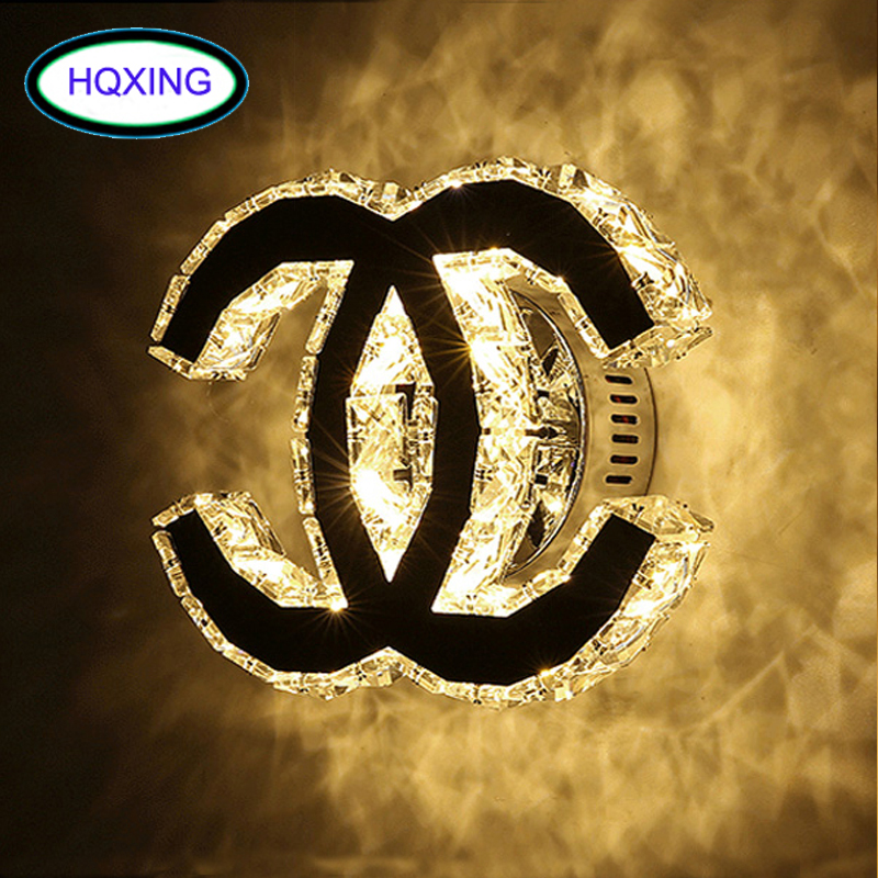 HQXING Modern crystal wall sconces 12W LED Wall Light For Home Indoor Lighting bathroom vanity wall mounted lamp luminaria ...