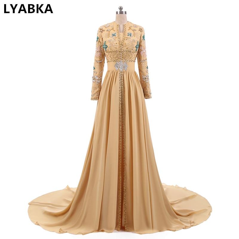 Hot Sale Straight Dubai Beads Evening Dresses Long Arabic Kaftan Muslim Long Sleeve abendkleider Evening Dress